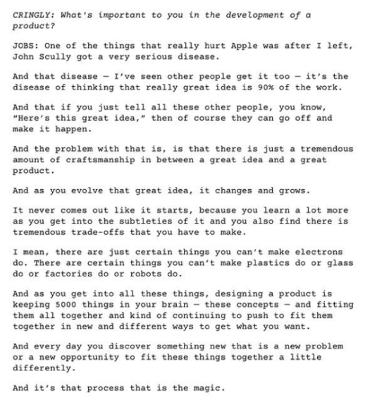 Steve Jobs on the importance of great executino